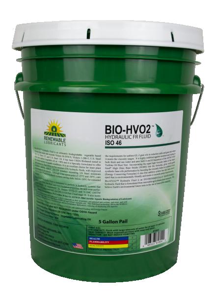 81604 Bio HVO2 Hydraulic Fluid ISO 46 5 Gal Pail
