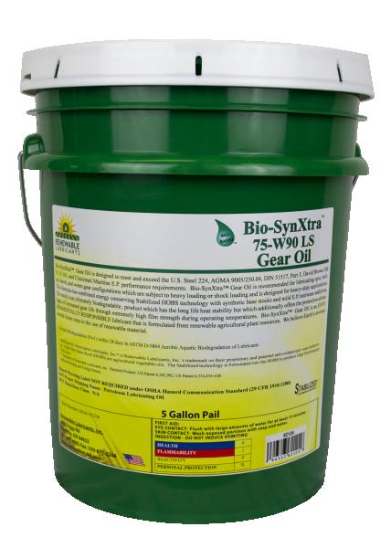 82124 Bio Syn Xtra SAE 75 W90 GL 5 LS Gear Oil 5 Gal